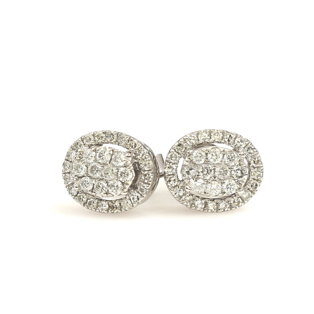 10K White Gold Oval Cluster Halo Earrings 0.5 Ctw