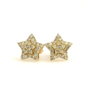 10K Yellow Gold Star Earrings 0.5 Ctw