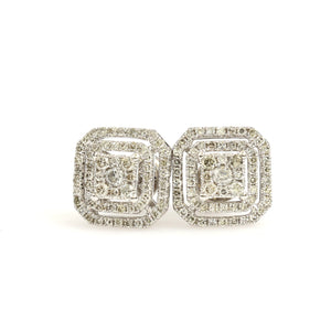 10K White Gold Square Pave Earrings 0.5 Ctw