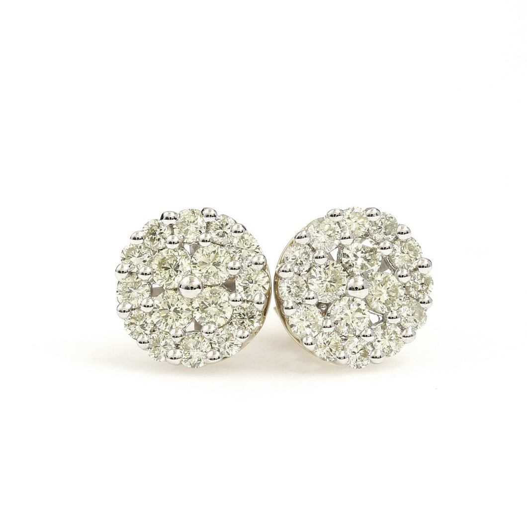 10K Yellow Gold Round Cluster Earrings 1 Ctw