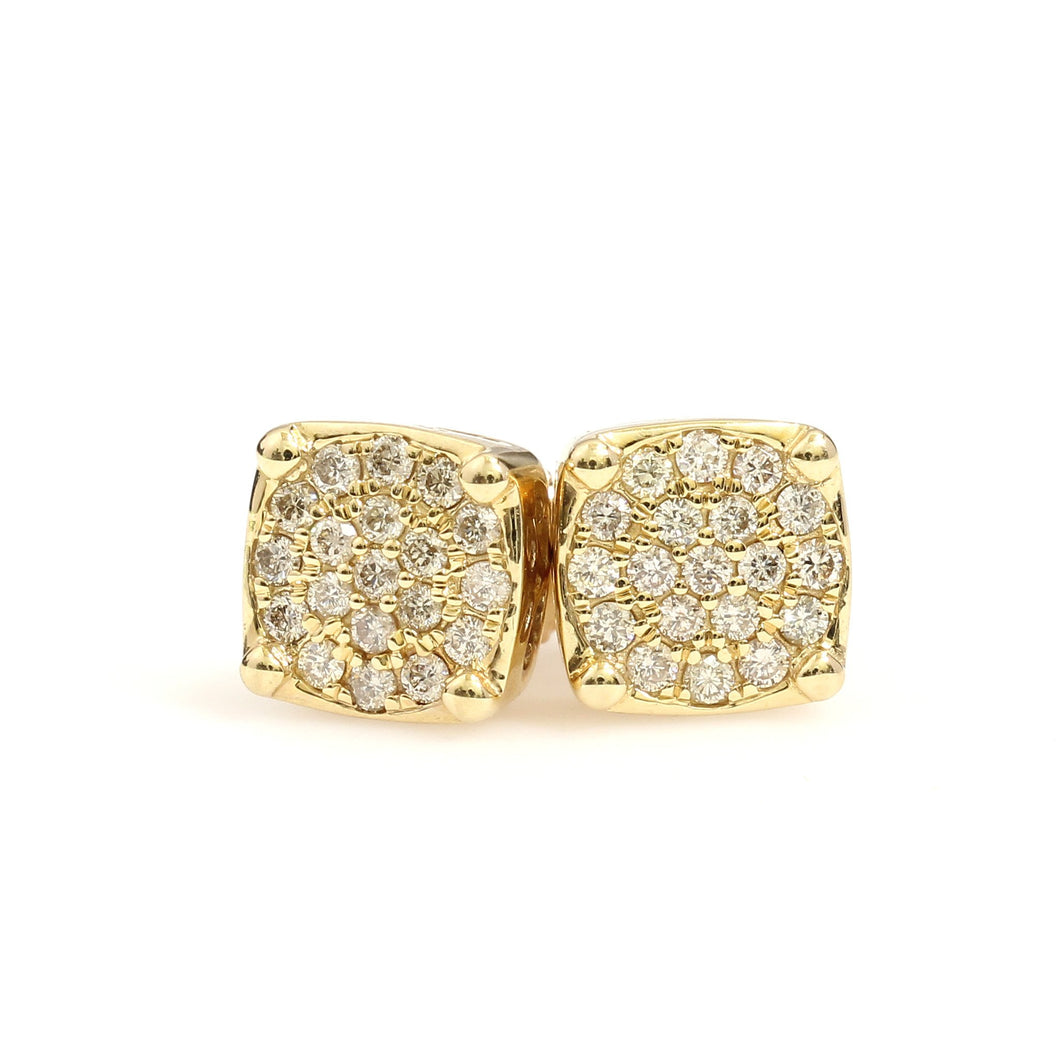 14K Yellow Gold Round Cluster Earrings 0.5 Ctw