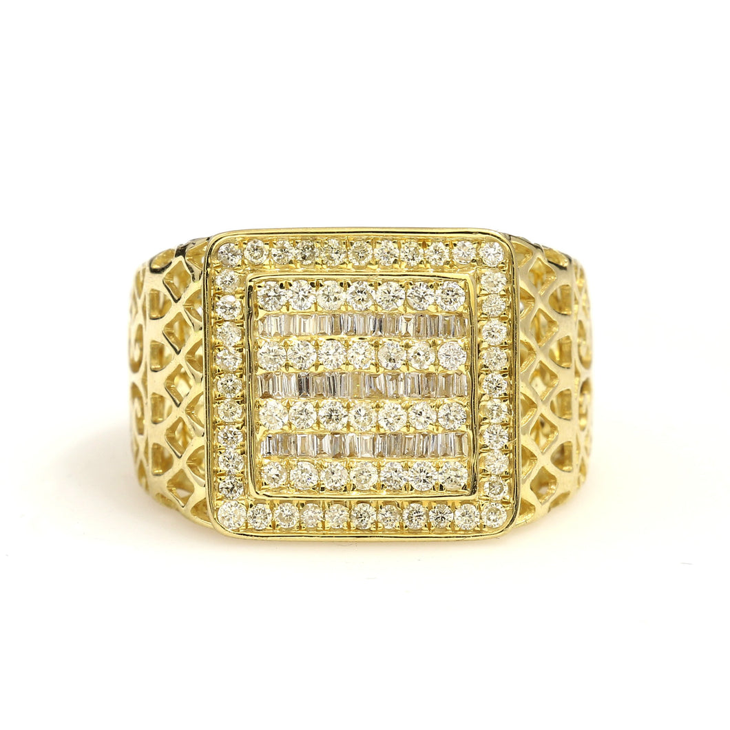 14K Yellow Gold Baguette Round Pave Ring 1 Ctw