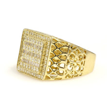 Load image into Gallery viewer, 14K Yellow Gold Baguette Round Pave Ring 1 Ctw