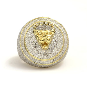 14K Yellow Gold Lion Head Ring 2.5 Ctw