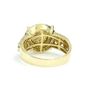 14K Yellow Gold Cluster Circle Pave Ring 1.75 Ctw