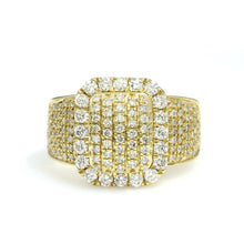 Load image into Gallery viewer, 14K Yellow Gold Rectangle Pave Ring 2 Ctw