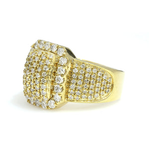 14K Yellow Gold Rectangle Pave Ring 2 Ctw
