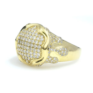 14K Yellow Gold Drip Pave Ring 1.65 Ctw