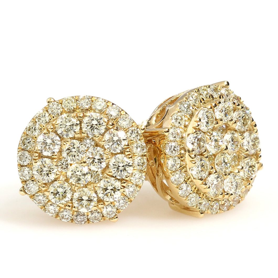 10K Yellow Gold Cluster With Halo Earrings 1.95 Ctw