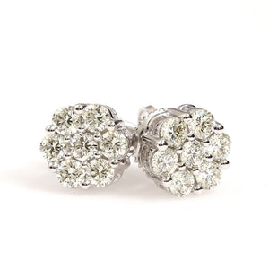 10K White Gold Flower Cluster Earrings 0.95 Ctw
