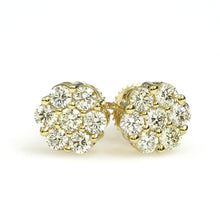 Load image into Gallery viewer, 10K Yellow Gold Flower Cluster Earrings 0.95 Ctw