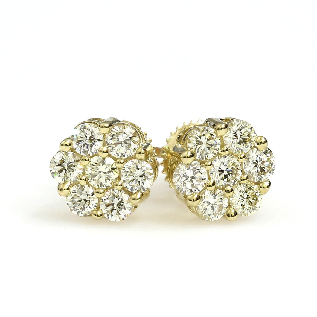 10K Yellow Gold Flower Cluster Earrings 0.95 Ctw