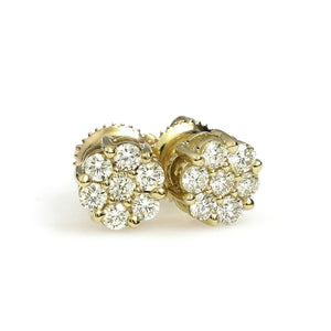 10K Yellow Gold Flower Cluster Earrings 0.7 Ctw