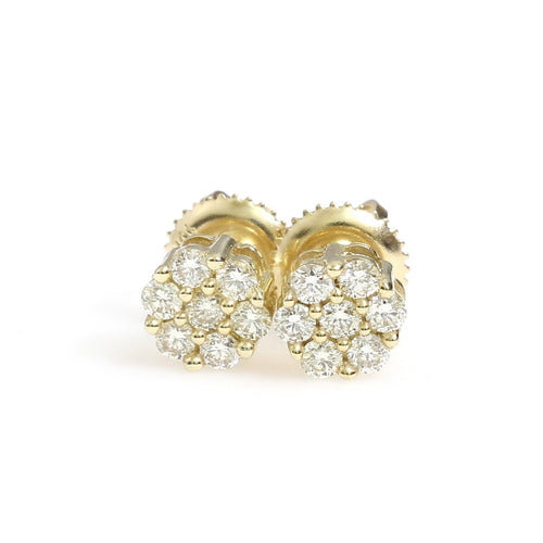 10K Yellow Gold Flower Cluster Earrings 0.5 Ctw