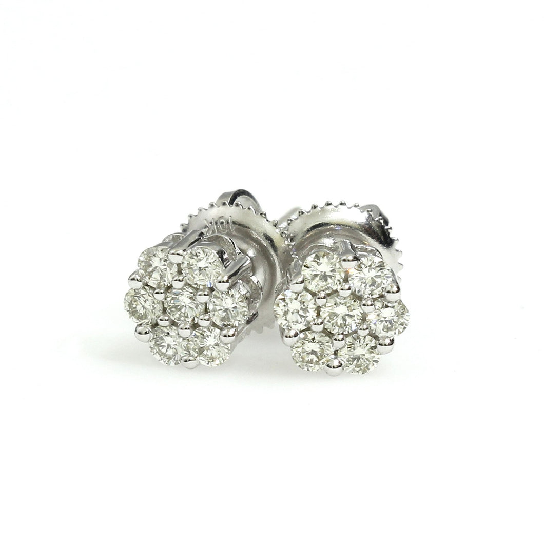10K White Gold Flower Cluster Earrings 0.35 Ctw
