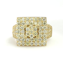 Load image into Gallery viewer, 10K Yellow Gold Square Pave Ring 3.5 Ctw