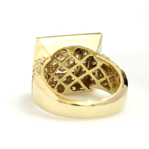 10K Yellow Gold Square Pave Ring 3.5 Ctw