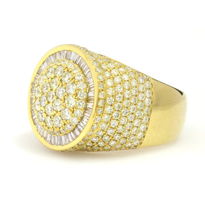 10K Yellow Gold Round Cluster Baguette Halo Ring 4.5 Ctw
