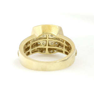 10K Yellow Gold Square Pave Ring 1.1 Ctw