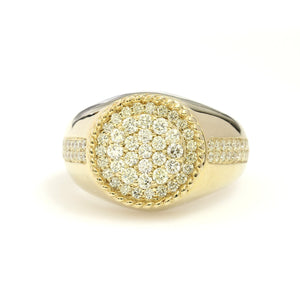 10K Yellow Gold Circle Cluster Ring 1.15 Ctw