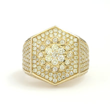 Load image into Gallery viewer, 10K Yellow Gold Hexagon Pave Ring 2.95 Ctw