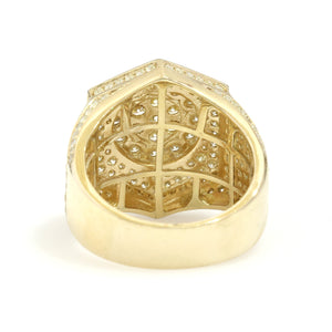 10K Yellow Gold Hexagon Pave Ring 2.95 Ctw