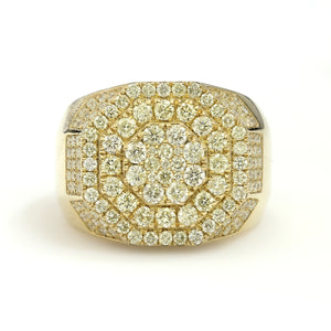 10K Yellow Gold Octagon Pave Ring 2.8 Ctw