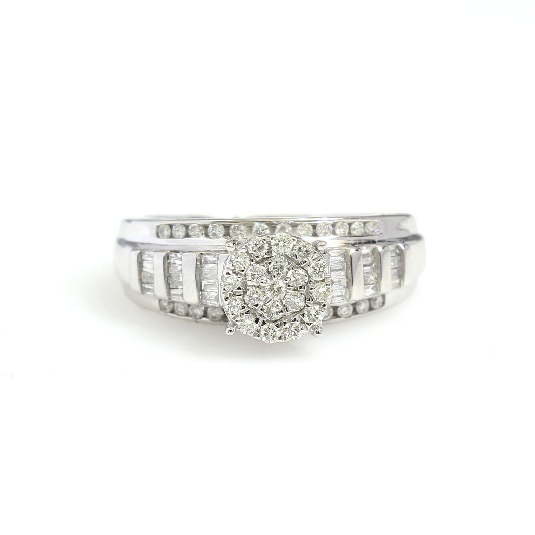 10K White Gold Cluster Engagement Ring 0.5 Ctw - Queen City Jewelry & Pawn