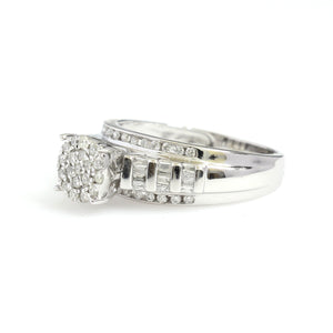 10K White Gold Cluster Engagement Ring 0.5 Ctw