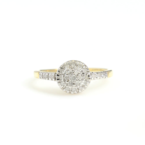 10K Yellow Gold Round Cluster Promise Ring 0.2 Ctw