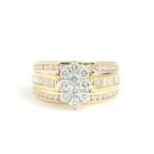 Load image into Gallery viewer, 14K Yellow Gold Oval Cluster Engagement Ring 1.5 Ctw