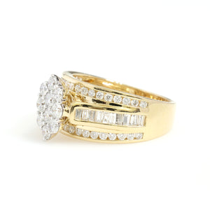 14K Yellow Gold Oval Cluster Engagement Ring 1.5 Ctw