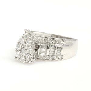 10K White Gold Pear Cluster Engagement Ring 2 Ctw