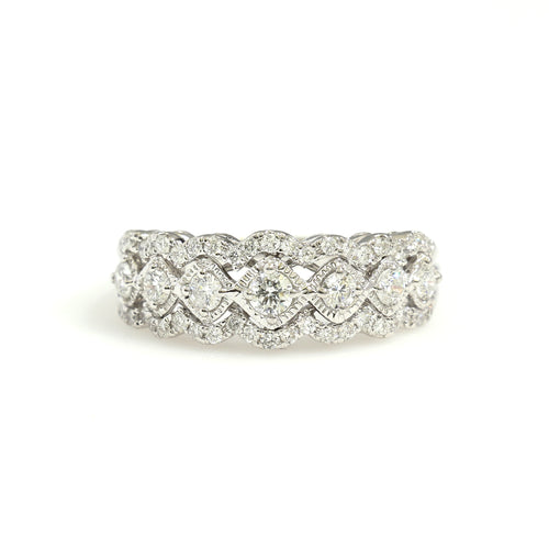14K White Gold Fancy Scalloped Band Ring 0.75 Ctw