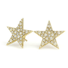 Load image into Gallery viewer, 14K Yellow Gold Star Earrings 1 Ctw
