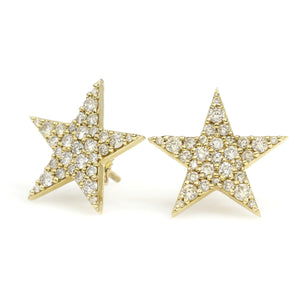 14K Yellow Gold Star Earrings 1 Ctw