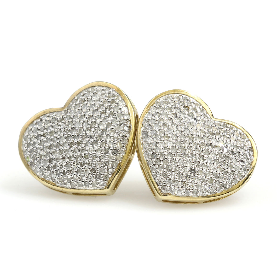 10K Yellow Gold Heart Pave Earrings 0.66 Ctw