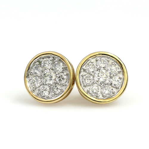 14K Yellow Gold Round Cluster Earrings 1 Ctw