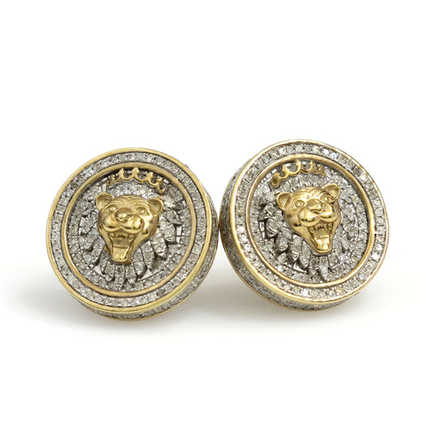 10K Yellow Gold Lion Head Earrings 1.35 Ctw