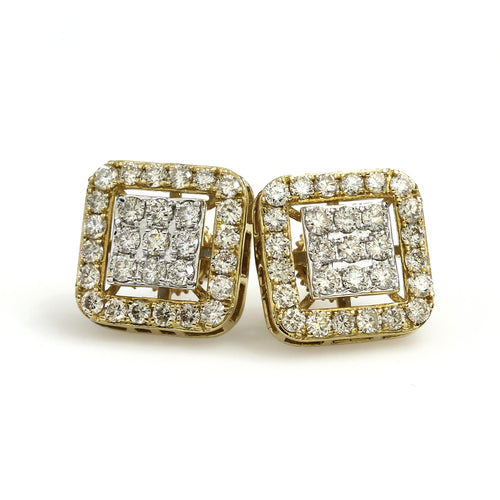 14K Yellow Gold Square Cluster Halo Earrings 1.5 Ctw