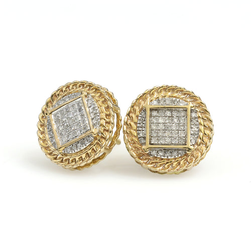 10K Yellow Gold Square Pave Link Border Earrings 0.18 Ctw