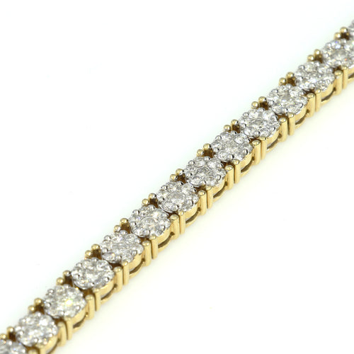14K Yellow Gold Round Cluster Bracelet 7.9 Ctw