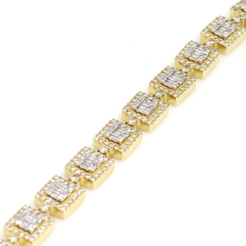 14K Yellow Gold Round And Baguette Square Link Bracelet 6.85 Ctw