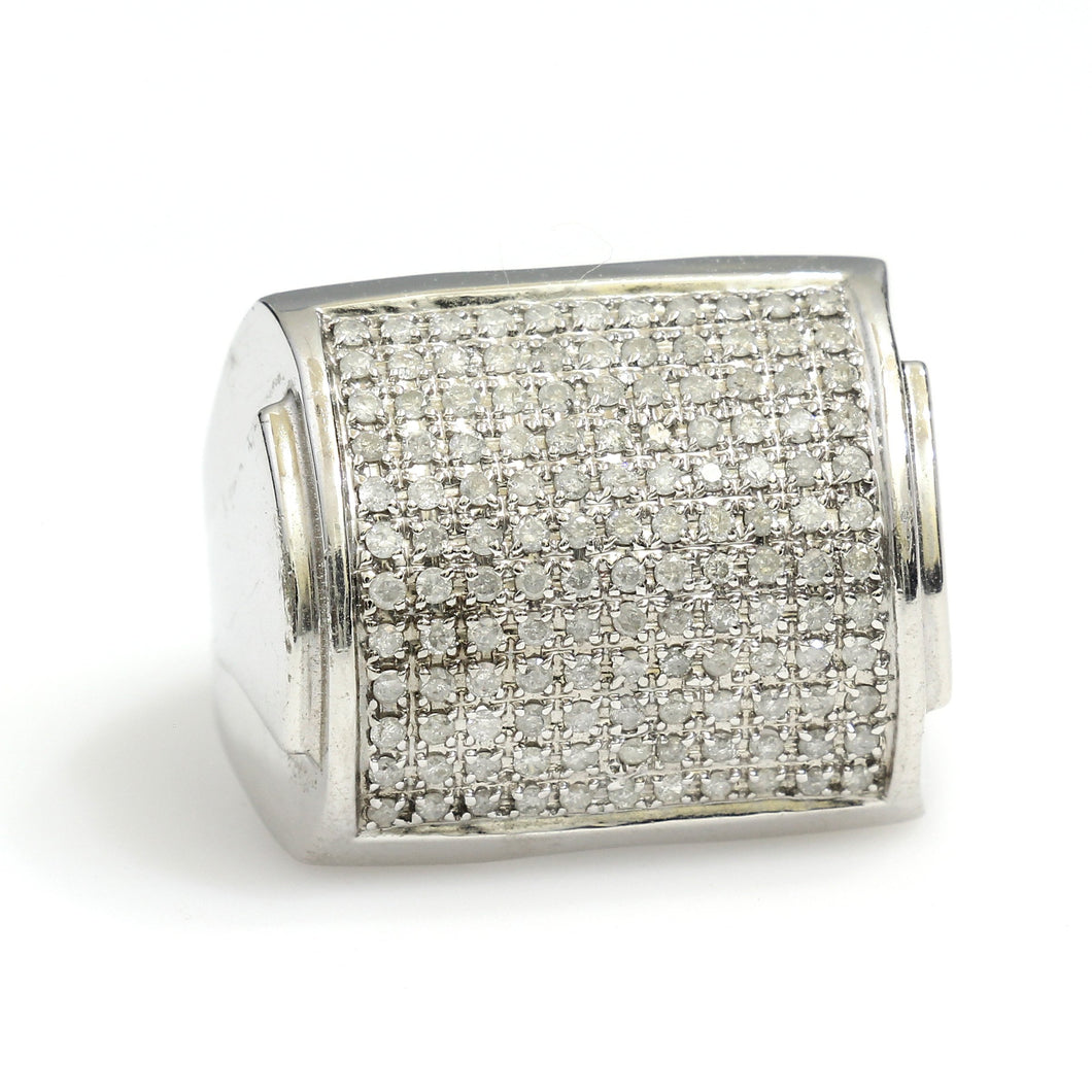 10K White Gold Rectangle Pave Ring 1 Ctw