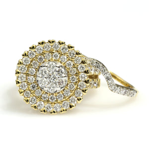 14K Yellow Gold Round Cluster 2 Pc Bridal Set Ring 2.5 Ctw