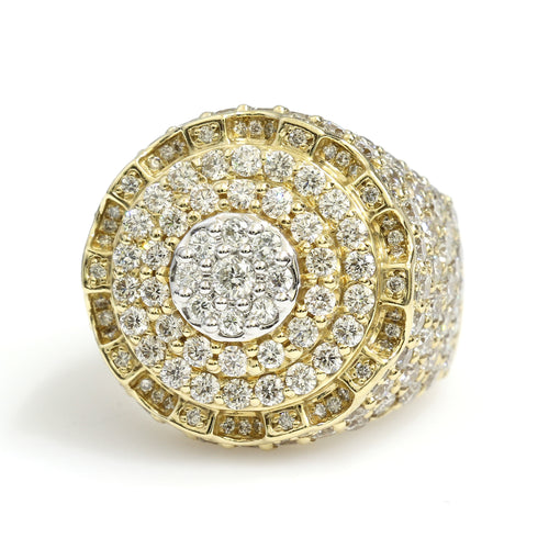 14K Yellow Gold Round Cluster Ring 5.85 Ctw