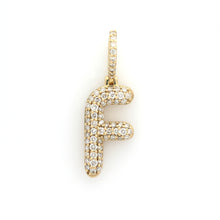 Load image into Gallery viewer, 10K Yellow Gold F Initial Pendant 0.7 Ctw