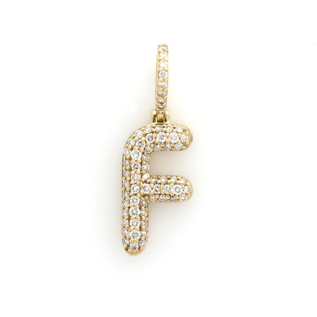 10K Yellow Gold F Initial Pendant 0.7 Ctw