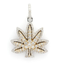 Load image into Gallery viewer, 14K Two-Tone Gold Marijuana Leaf Pendant 2.35 Ctw