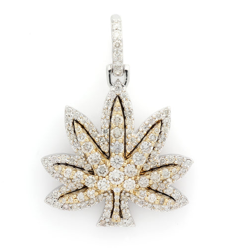 14K Two-Tone Gold Marijuana Leaf Pendant 2.35 Ctw